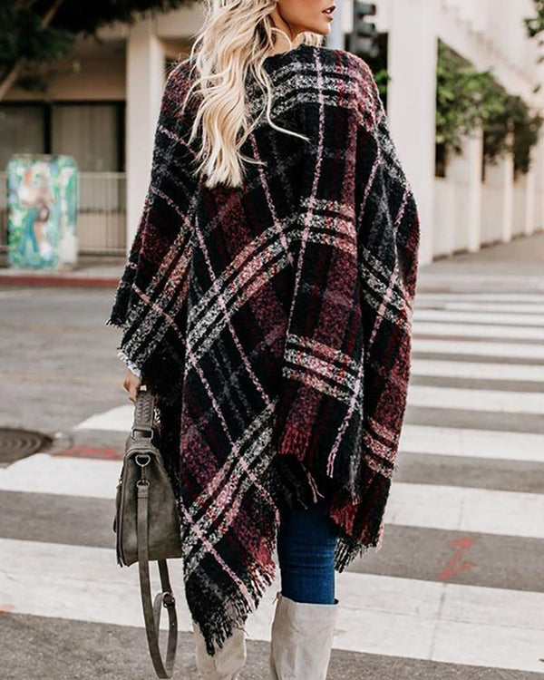 Plaid Fringed Open Front Casual Cape Coat