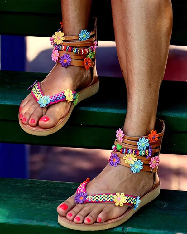 Flower Detail Multi-Strap Toe Post Sandals