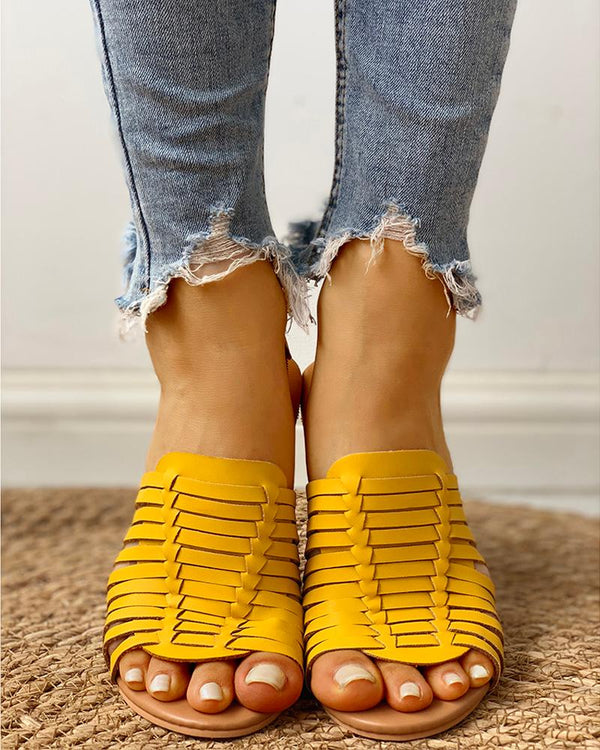 Braided Design Peep Toe Flat Sandals