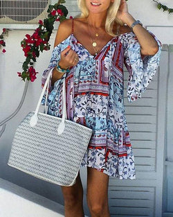Boho Printed Cold Shoulder Casual Dress