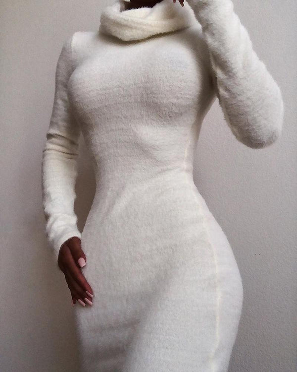 Solid Fluffy Long Sleeve Casual Dress