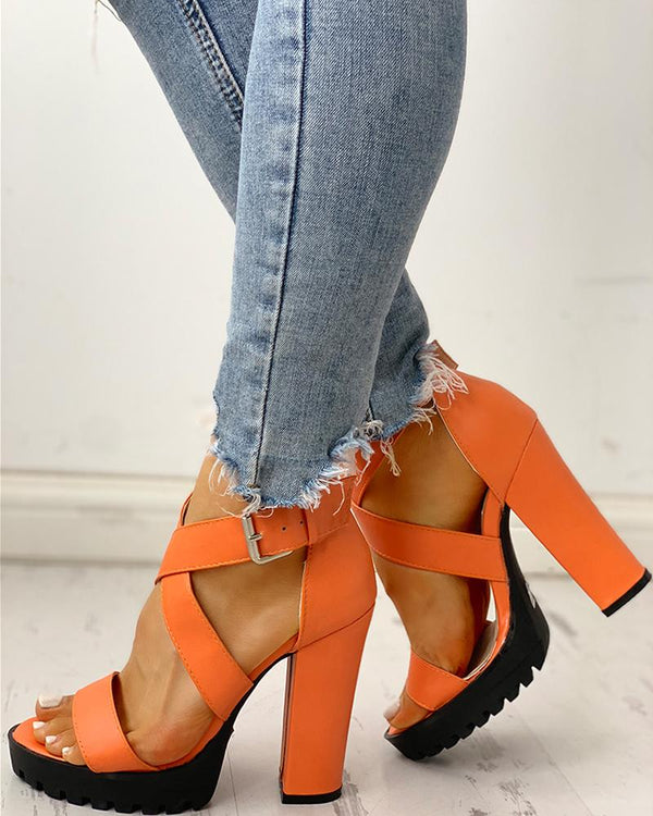 Crisscross Platform Chunky Heeled Sandals
