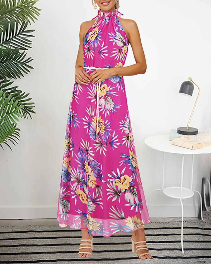 Halter Floral Printing Long Chiffon Dress