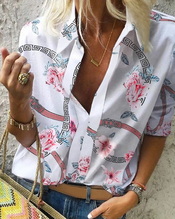Floral Chain Print Casual Blouse