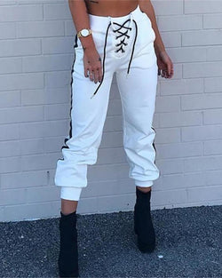 High Waist Eyelet Lace-up Tape Insert Pants