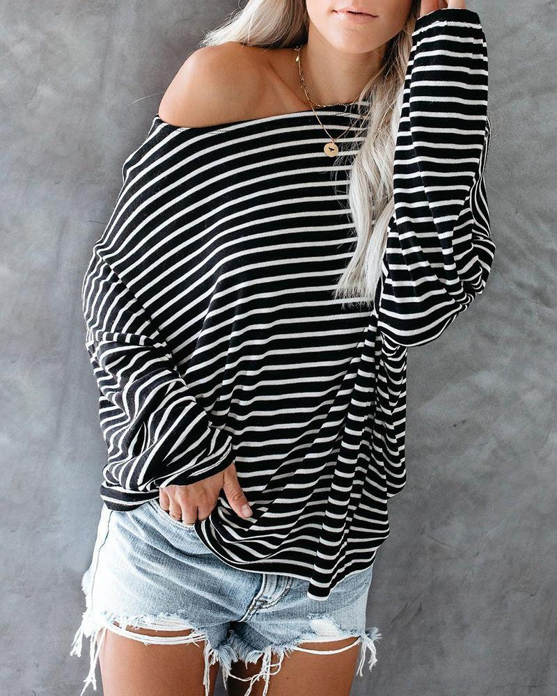 Stripe Batwing-long-sleeved One Shoulder Casual T-shirt