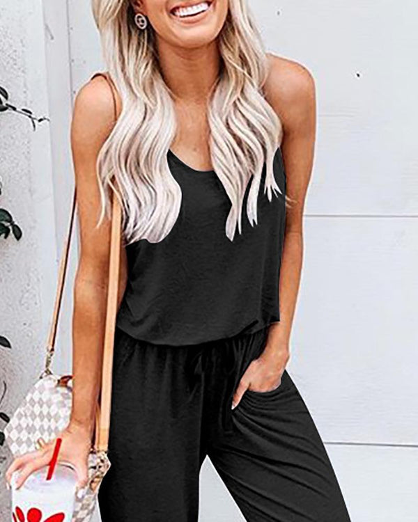 Casual Sleeveless Drawstring Waist Jumpsuit
