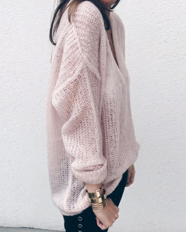 V Neck Hollow Out Knitting Loose Sweater