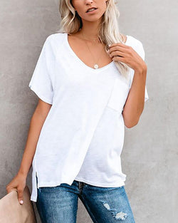 Solid Raglan Sleeves V-neck Pocket T-shirt