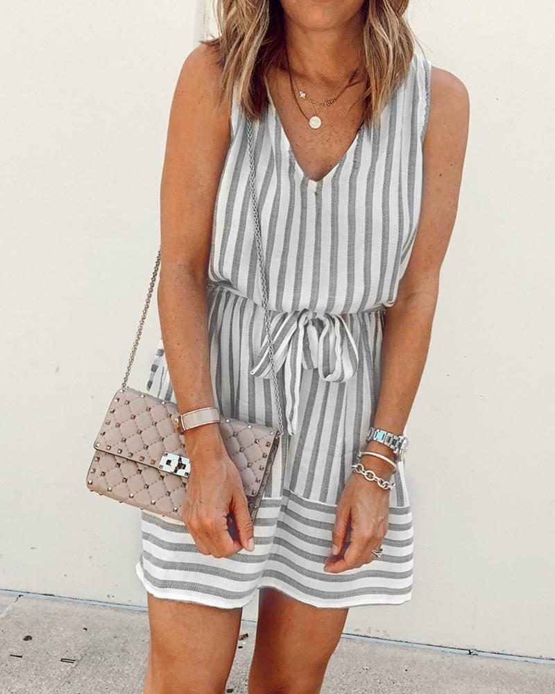 Striped Sleeveless Cutout Back Casual Dress