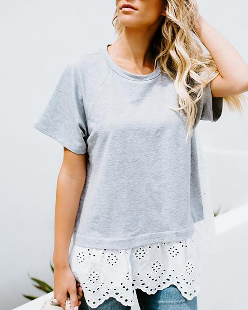 Europe style Sexy lace short sleeve casual top