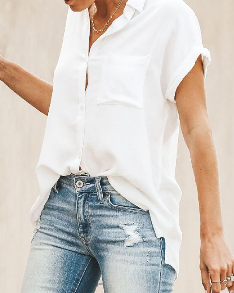 Solid Short Sleeve Casual Blouse