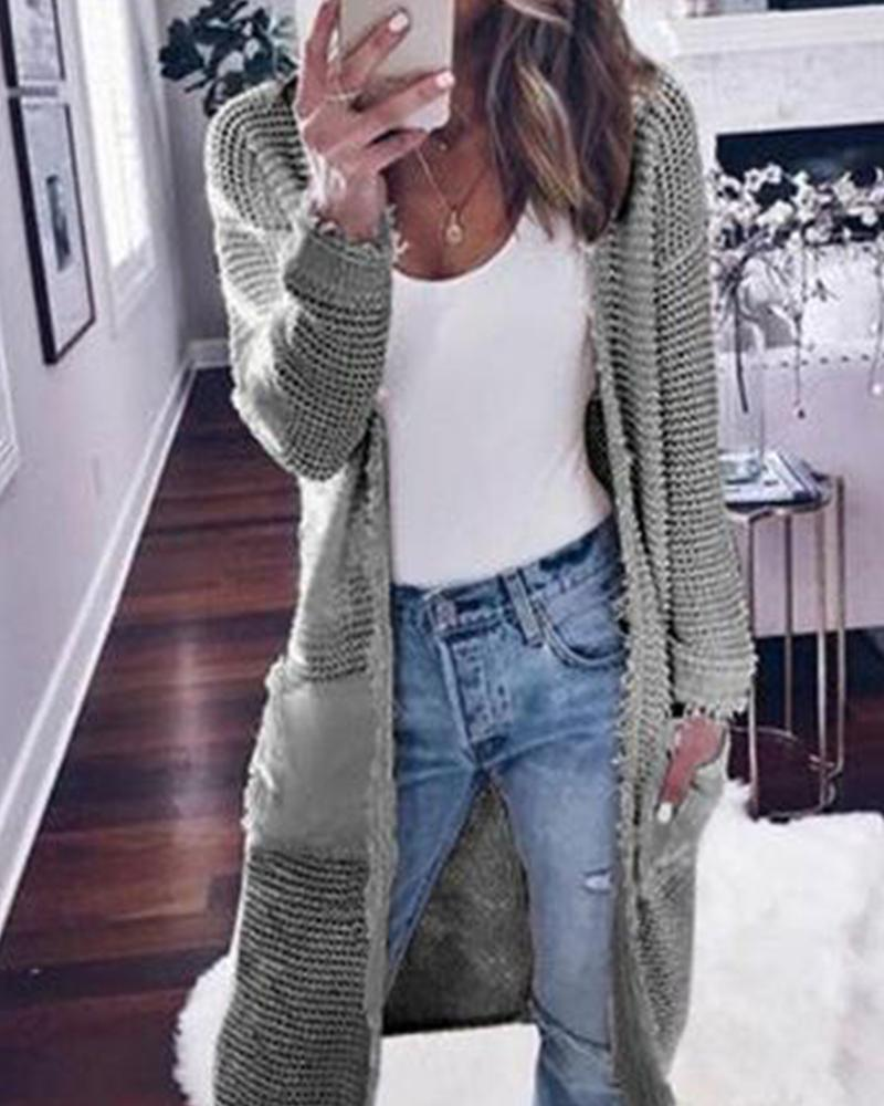 Long Sleeve Solid Color Cardigan Casual Knit Sweater Jacket