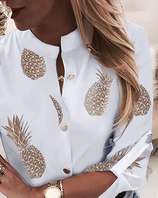 Pineapple Print Adjustable Sleeve Casual Blouse
