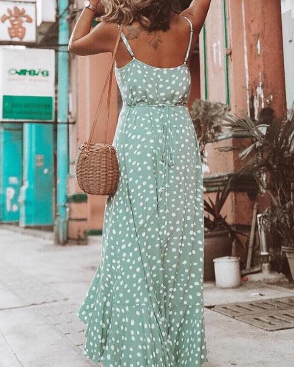 Spaghetti Strap Dot Print Long Dress