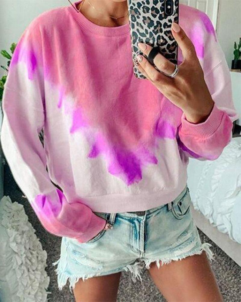 Triangle printed gradient long-sleeved sweater