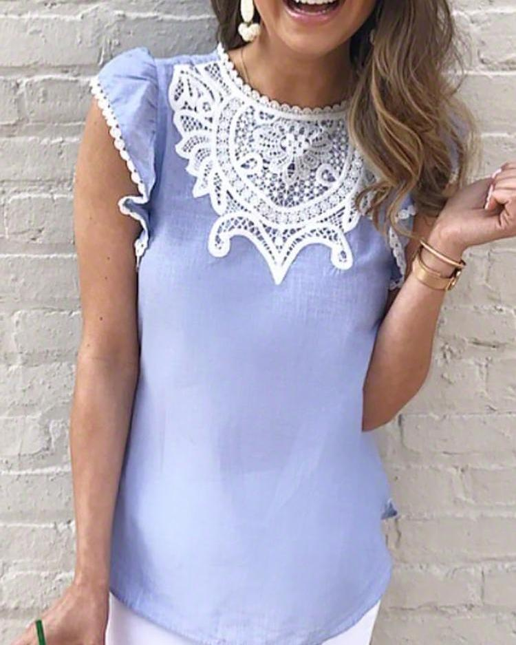Crochet Lace Splicing Flutter Sleeve Casual Blouse