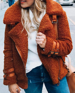 Fluffy Fur Zipper Coat