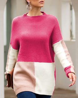 Colorblock Insert Long Sleeve Ribbed Sweater