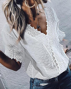 V-neck Casual lace Short-sleeved top