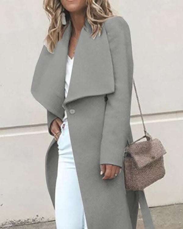 Solid Waterfall Collar Longline Wool Coat