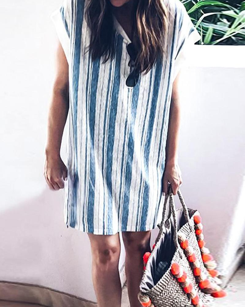 Short Sleeve Striped Print Loose Dress