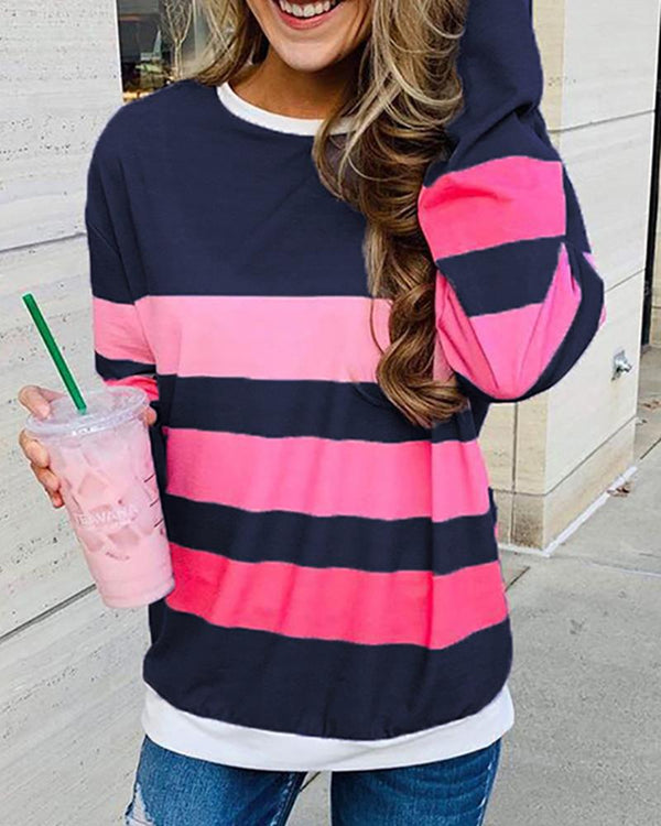 Striped Colorblock Round Neck Long Sleeve Sweatshirt