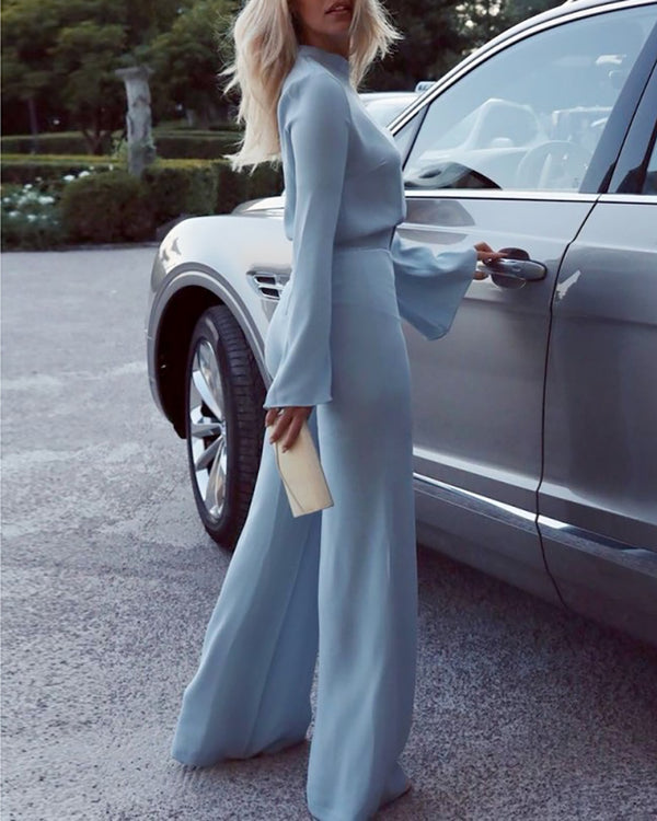 High Neck Bell Sleeve Wide Leg Jumpsuit With Belt