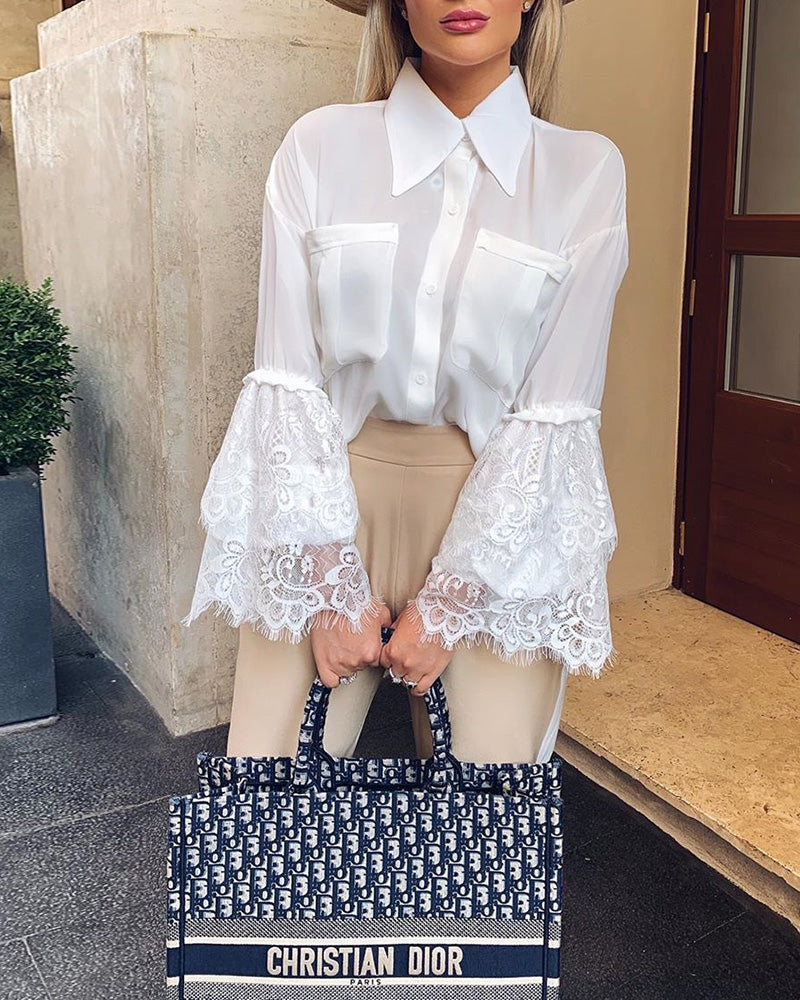Eyelash Lace Bell Sleeve Casual Blouse