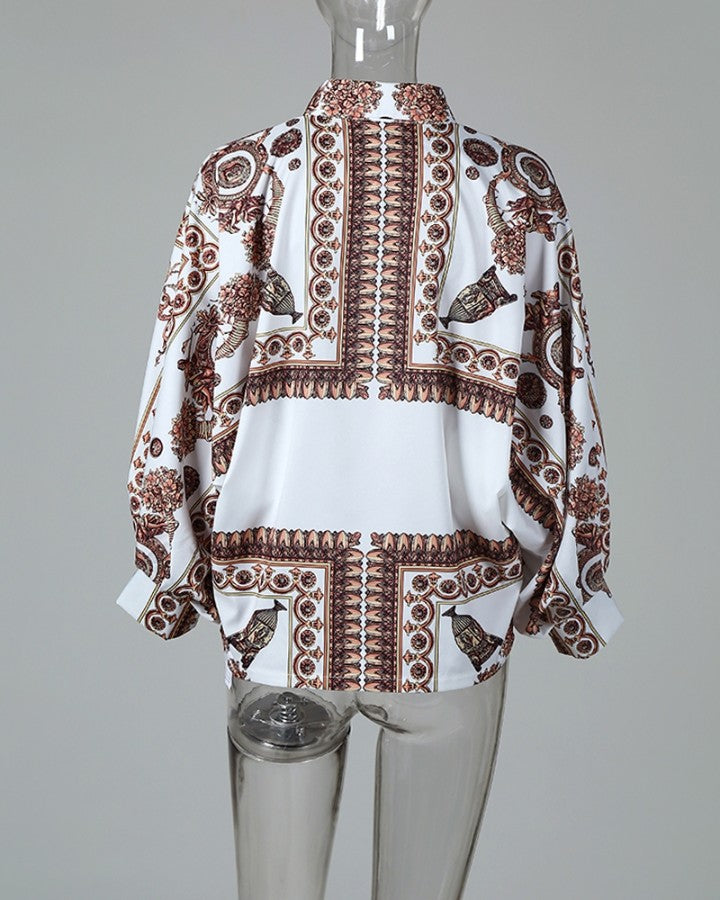 Baroque Print  Lantern Sleeve Casual Blouse
