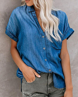 Denim Short Sleeve Asymmetrical Blouse