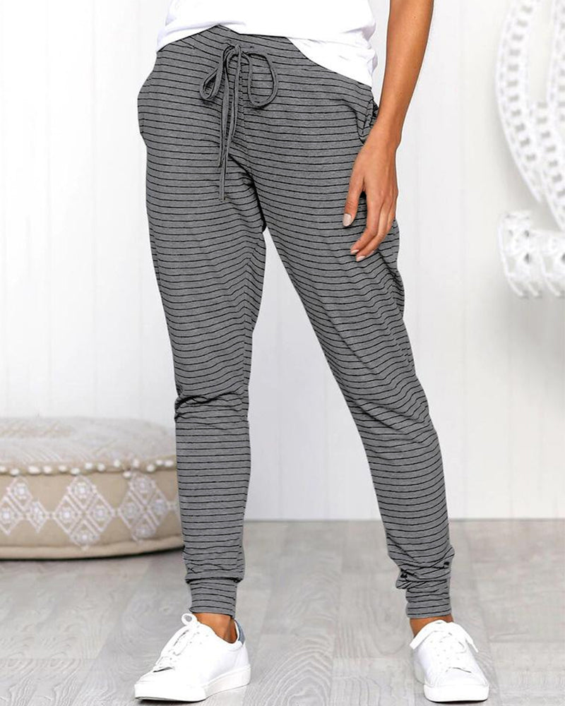 Pinstripes Drawstring Casual Long Pants
