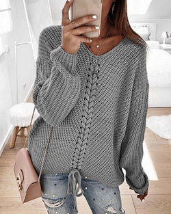 V Neck Eyelet Lace-up Casual Sweater
