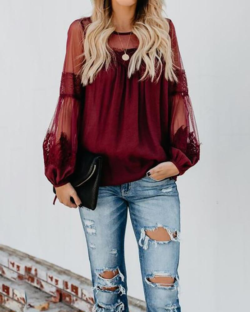 Summer new lace stitching mesh long sleeve round neck T-shirt