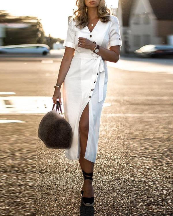 Short Sleeve Oblique Placket Slit Dress