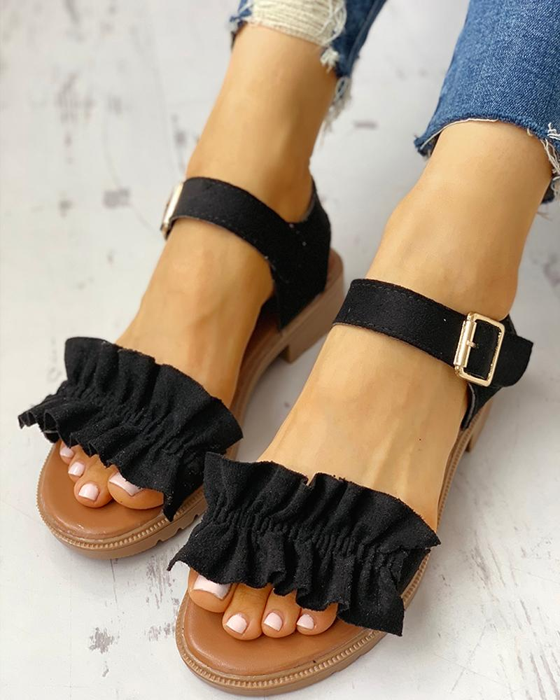 Ruched Frill Hem Casual Sandals