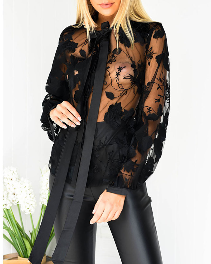 Floral Lace Embroidery See Through Tied Neck Shirt