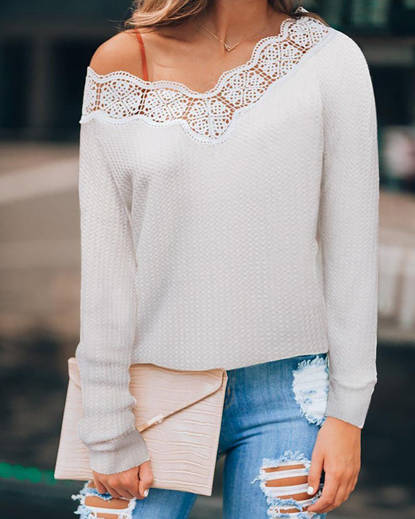 V Neck Crochet Lace Insert Blouse
