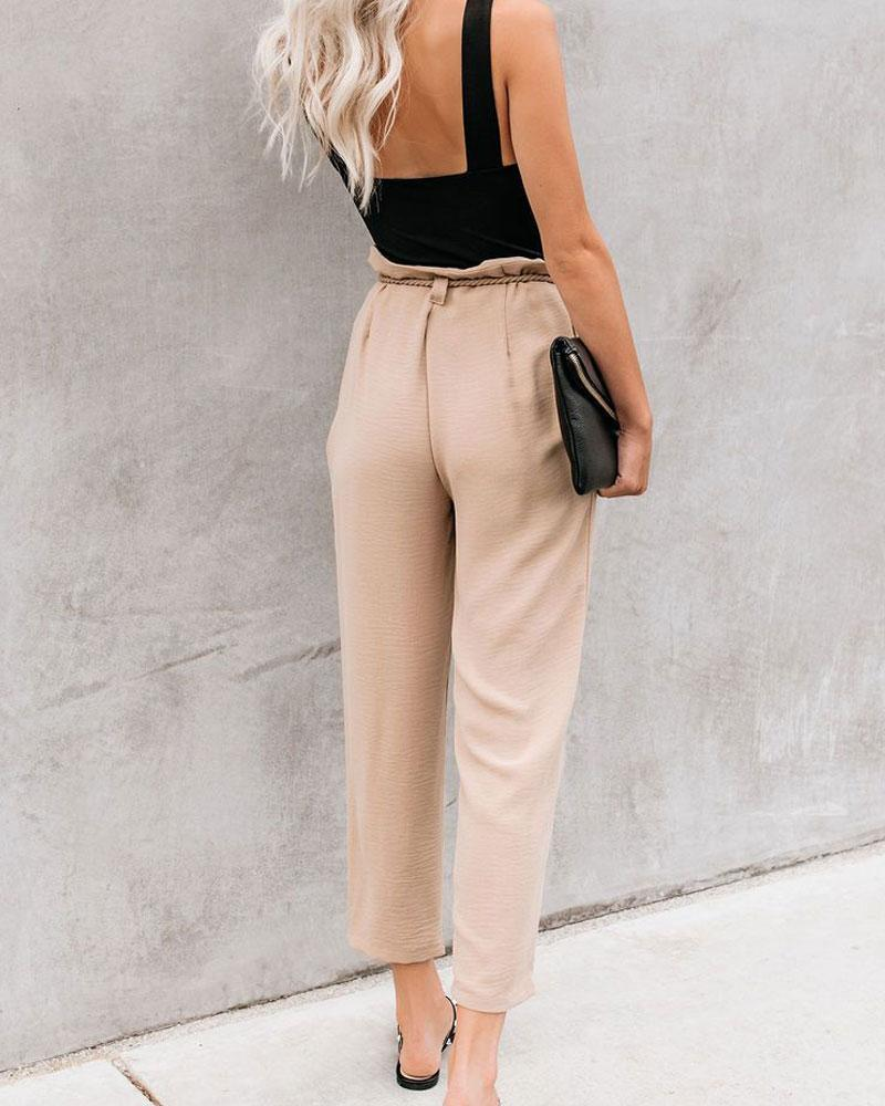 New fashion versatile tie with pleated casual trousers