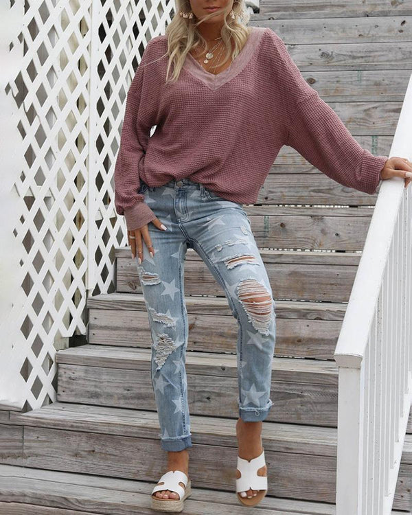 Casual V-neck Long Sleeve Sweater