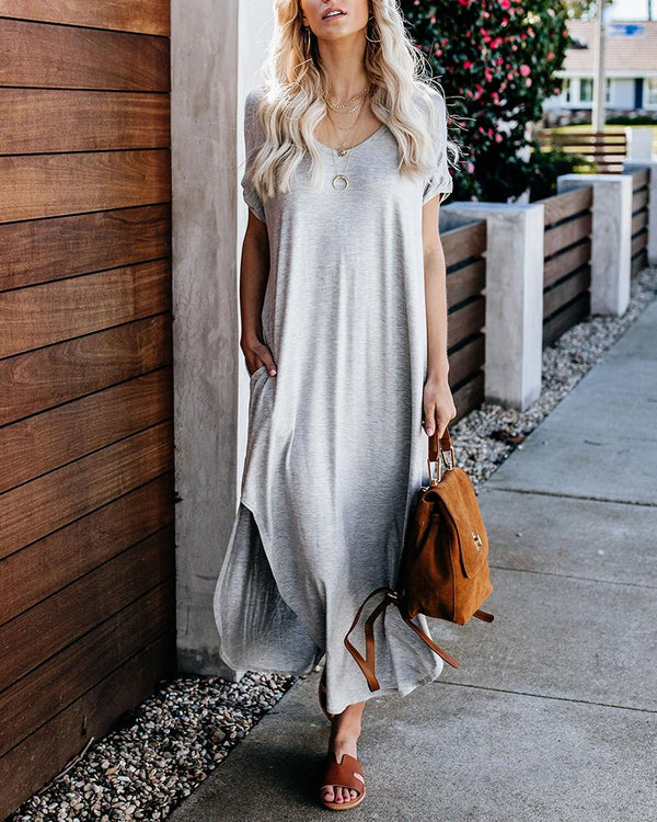 Short Sleeve Long Swallow-tail Dress