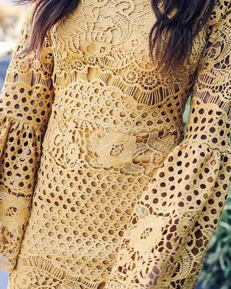 Crochet Lace Hollow Out Flared Sleeve Mini Dress