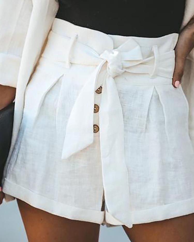 High Waist Belted Solid Shorts