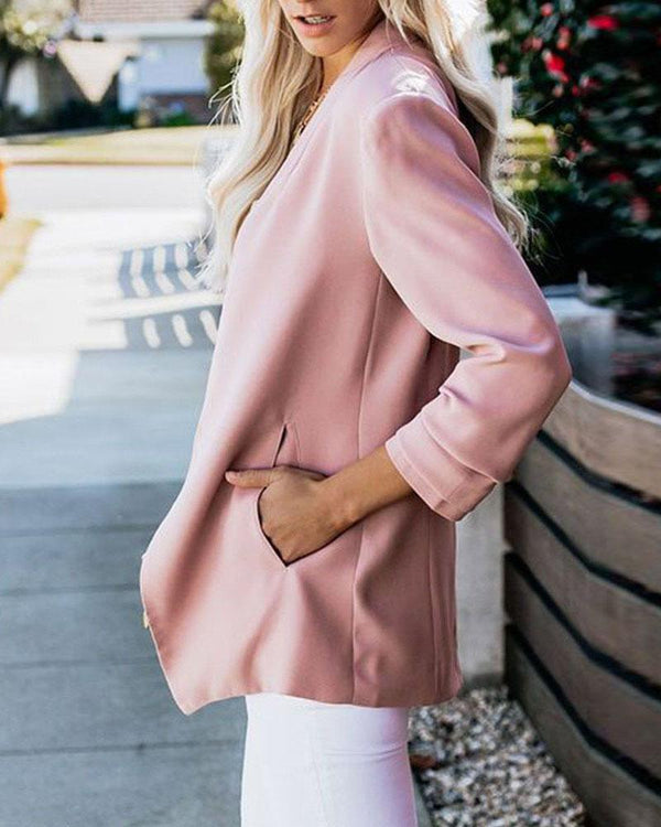 Slim long-sleeved solid color wild small suit jacket