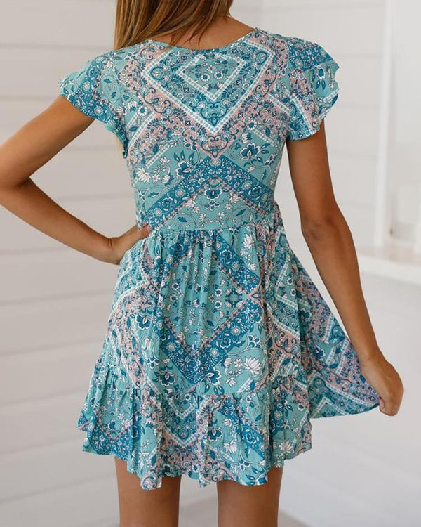 Floral Print Boho Style Casual Dress