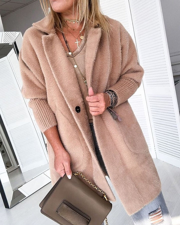 Warm Khaki Solid Fluffy Open Front Long Coat