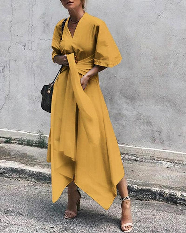 V-neck fashion women's maxi dress