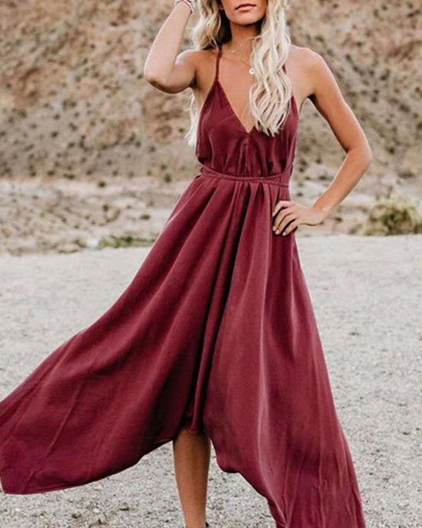 V-Neck Strap Irregular Maxi Dress