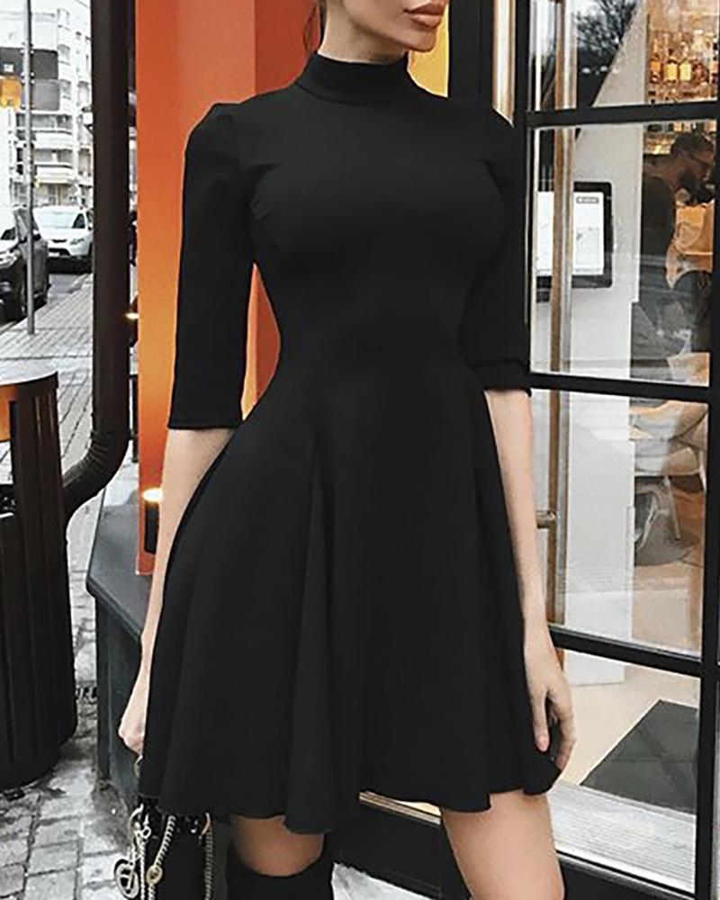 Mock Neck Half Sleeve Tight Waist Ruched Dress