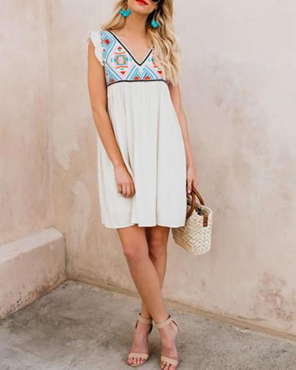 Printed spring and summer dress